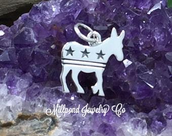 Democrat Donkey Charm, Democrat Charm, Silhouette Donkey Charm, Sterling Silver Charm, Political Charm, PS01487