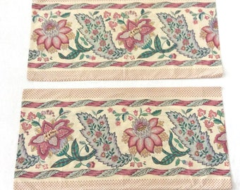 2 King Pillowcases Vintage Bed Linens Large Jacobean Flower Print by Martex 1970s Bedroom Decor