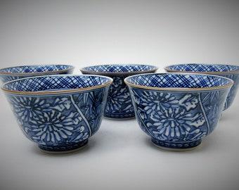 Yunomi/Tea cups.Sencha cups.Kiyomizu-ware. Sencha set of 5.by Houzan.1970's.Hand-painted.#ynm65.msjapan