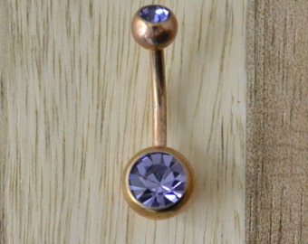 Light Purple Double Gem Rose Gold Plated Belly Button Ring Navel Body Piercing Jewelry