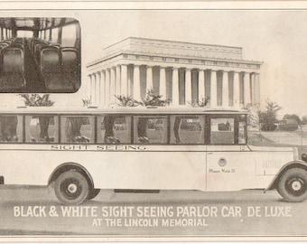Vintage Postcard,Sightseeing Parlor Car at Lincoln Memorial, Washington, DC, ca 1930