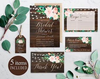 Rustic Bridal Shower invitation Set, Wood Bridal Shower Invitation, Floral Invitation Suite, Bridal Invitation Package