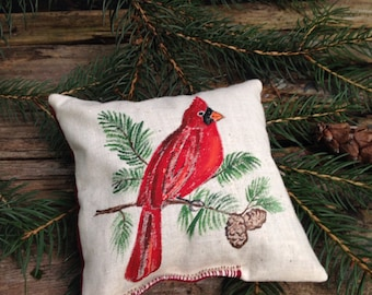 Country French Handpainted Cardinal Design Balsam Pillow