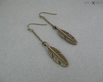 Bronze Feather Charm Earrings