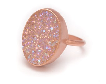 Aurora Borealis Druzy Ring - Rose Gold Ring - Druzy in Rose Gold Ring - Druzy / Drusy Quartz - Available in Sizes 5, 6, 7 and 8