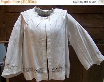 ON SALE The BEST Victorian Woman's Thread Work Linen Boudoir Jacket Great Wedding Piece