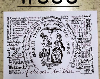 University of South Carolina hand-lettered print Forever to Thee horseshoe Wall Art Print Gamecock McKissick Russell Maxcy Strom Euphradian