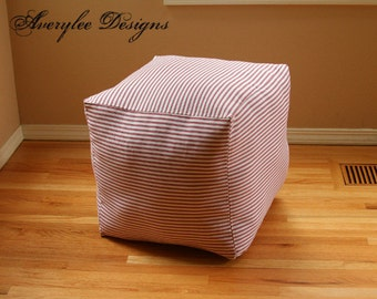"Premier Prints  Red and White or Blue and White Stripe, Patriotic, Pouf Ottoman Cover, Square 16"", Floor Cushion, pouffe, Beach, Seaside"