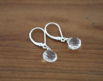 White topaz earrings,silver clear earrings,every day earrings,tiny drop earrings,gift for her,gift under 30,buff gift,dainty earrings