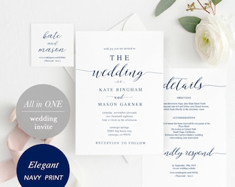 Navy Printable Wedding Invitation Template, Wedding Invitation Front Back, All in One Wedding Invite, Download Modern Calligraphy #SPP008wi1