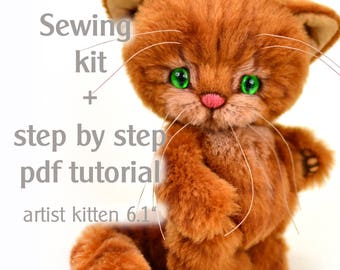 Sewing kit artist teddy kitten Adi, step by step pdf tutorial, handcraft kit, craft set teddy cat, patterns & how to, teddy cat making kit