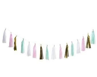 Tissue Tassel Garland (Turquoise, Pink, White, Gold)