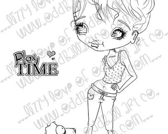 INSTANT DOWNLOAD Digi Stamp Digital Image Whimsical Big Eye Girl Sherry Rescues A Puppy Image No.245 by Lizzy Love