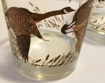 Set of 4 Goose Glasses / Bird Hunting Geese Goose Glassware
