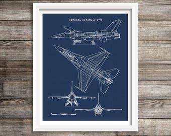 "F-16 Falcon Blueprint, Aircraft Blueprint, F-16 Aircraft, Instant Download, F16 Fighter Jet, Air Force Decor, Aviation Art, 8x10"", 11x14"""