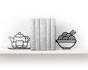 Noodle bookends Foodie book ends Kitchen decor Metal bookends Asian food Ramen Pho Tea Teapot Book shelf Housewarming gift - black