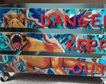 Large hand painted pine book/toy/storage box. DINOSAURS