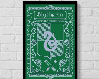 BOGO SALE, Cross stitch pattern, Hogwarts House Slytherin, Harry Potter quote, Instant Download, Cross-stitch PDF, Embroidery, Digital #157