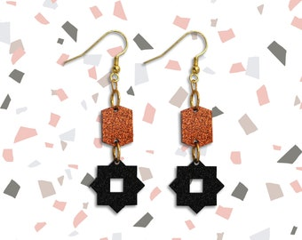 Geometric Laser Cut Dangle Earrings, Copper and Black, Sparkle