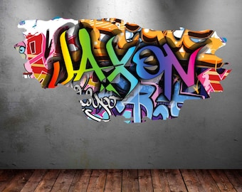 Great Personalized Name Full Color Graffiti Wall Decals Cracked 3d Wall Sticker  Mural Decal Graphic Wall Art Bedroom Wall Stickers WSD153