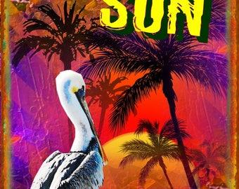 Sun Surf & Beach Metal Sign