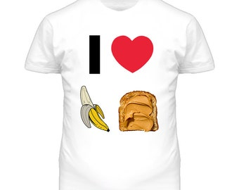 I Heart Love Luv Peanut Butter Banana Sandwich T Shirt