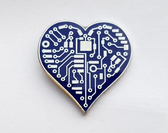 Circuit Heart Enamel Lapel Pin | Blue Circuit Heart Pin