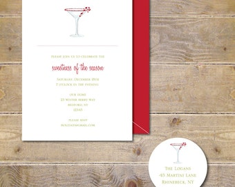 Christmas Invites, Christmas Party Invitations, Holiday Cards, Invites, Holiday Party Invites, Holiday Invite, Peppermint Martini