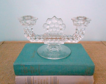 Fostoria American Double Candleholders, 1940's Collectible Glass, Elegant Wedding Decor