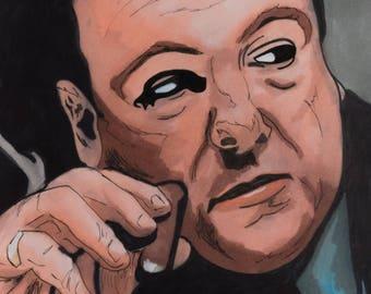TONY SOPRANO ART 11x17 Giclee Print  (The Sopranos, The Sopranos Art, The Sopranos Poster, The Sopranos Wall Art, The Sopranos Art Print)