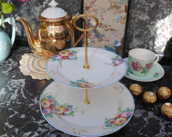 1930's VINTAGE CAKE STAND - 2 tier - Hand painted - English china - Afternoon tea - Vintage wedding - Floral pattern - Gold tone -Art deco