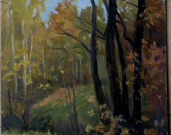 Autumn landscape autumn forest  Oil landscape Tree Painting painting Original Oil on cardboard by Pidvarchan Victoriya