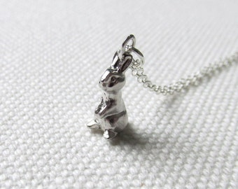 Bunny pendant etsy tiny rabbit charm necklace cute bunny pendant sterling silver or rhodium chain woodland animal jewelry aloadofball Choice Image
