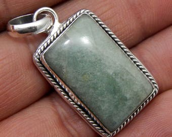 100% Solid 925 Sterling Silver Amazonite Gemstone Handmade Jewelry Pendant