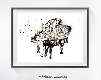 Watercolor Piano Print of My Original Painting - Musical Instrument Watercolor Painting, Nursery Wall Decor, Abstract Art, Art Print