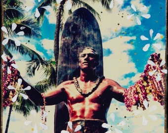 DUKE, Giclee, 8x8 and Up, Waikiki, Hawaii, Orchids, Aloha, Duke Paoa Kahanamoku, Oahu, Leis, Blue, Wall Art, Surf Art, Surfboard, Palms