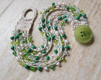 Crochet Beaded Bracelet, Off White with Green Blue White and Clear Glass Beads, Beach Jewelry