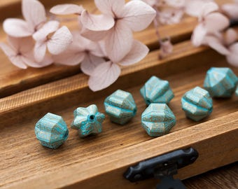 Vintage Lucite Beads Unusual Turquoise Blue Bronze Verdigris Patina Gold Distressed Fancy Shape Beads 10x11mm