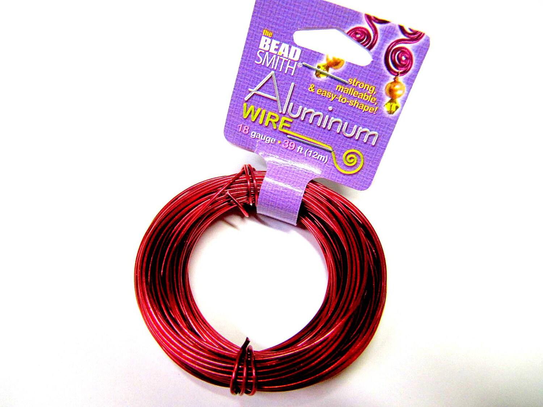 Aluminum Wire 18 Gauge Round Wire, Red, 39 Feet, Beadsmith, Craft ...