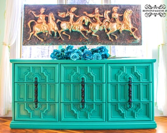 SOLD Handpainted Nine Drawer Dresser Chest Of Drawers Hollywood Regency  Turquoise Green Black Harlequin Stenciled Gothic