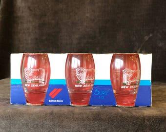 Vintage New in box New Zealand sheep Barmioli shot glasses set of 3