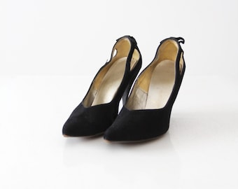 vintage 50s Scasini black heels women's 7, suede leather with bows