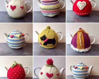 Funky Retro Style Large Hand Knitted Tea Cosies