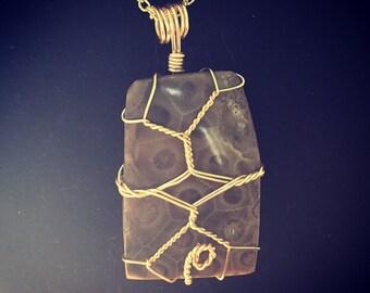Golden Fleece Petoskey Stone Pendant