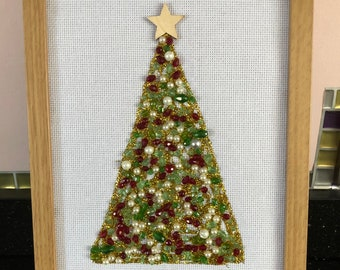 Handmade beaded Christmas tree.