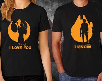 "Star Wars - ""I LOVE YOU - I KNOW"" - Couples Graphic Shirts."