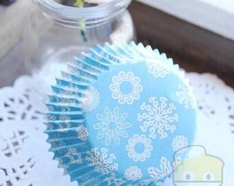 Light Blue Snowflake Cupcake Liners (50)