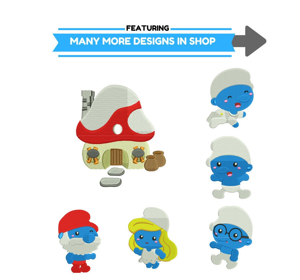 Brainy Smurf Stickerei Design | Schlümpfe Maschine Stickerei Design ...