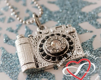 Crystal Pendant Camera Necklace
