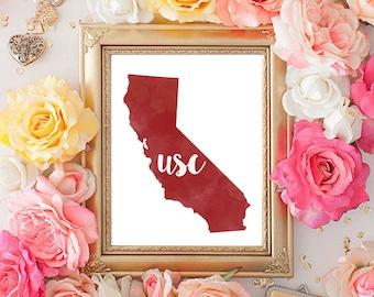 University of Southern California Watercolor State & Alumni Print (2 8x10's)